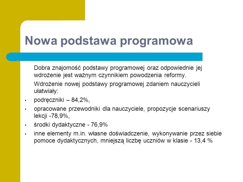 Nowa podstawa programowa Dobra znajomość podstawy programowej oraz odpowiednie jej wdrożenie jest ważnym czynnikiem powodzenia reformy.