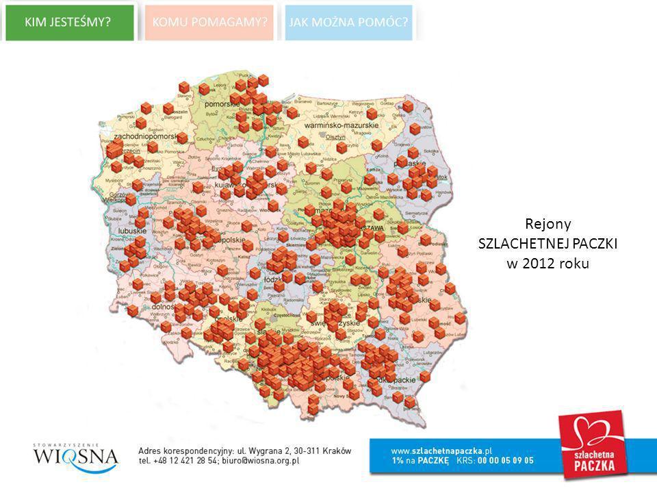 Rejony SZLACHETNEJ PACZKI w 2012 roku