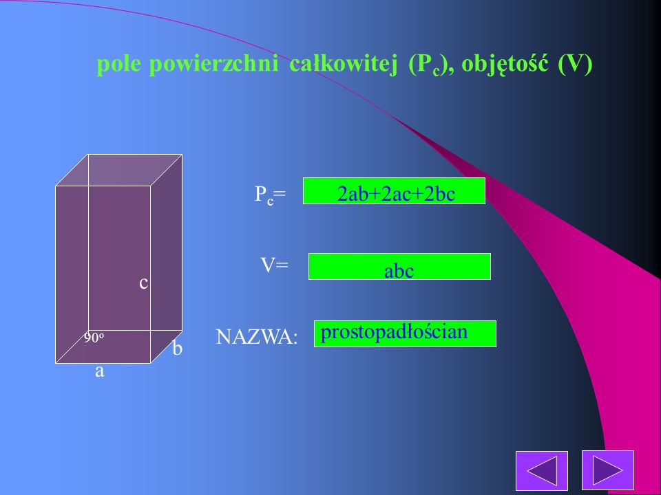 pole powierzchni całkowitej (P c ), objętość (V) NAZWA: Pc=Pc= V= graniastosłup prawidłowy sześciokątny a a a a a H a a a a a a