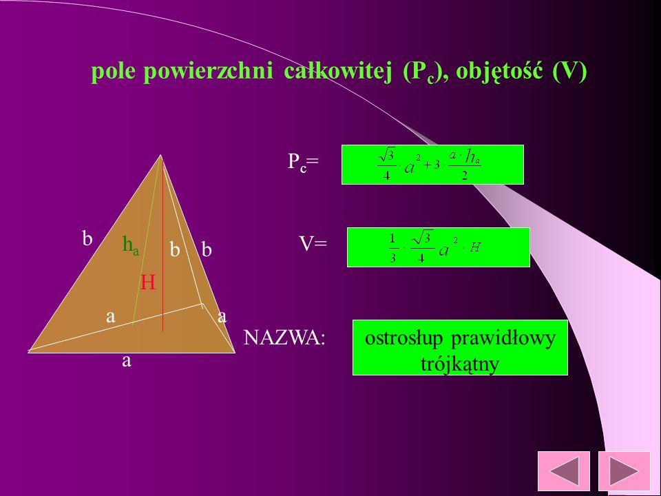 pole powierzchni całkowitej (P c ), objętość (V) NAZWA: Pc=Pc= V= l r H Лr 2+ Лrl Лr2HЛr2H stożek