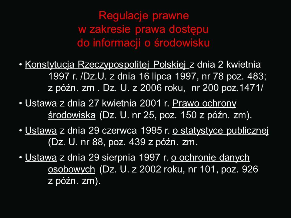 Regulacje prawne w zakresie prawa dostępu do informacji o środowisku Konstytucja Rzeczypospolitej Polskiej z dnia 2 kwietnia 1997 r. /Dz.U. z dnia 16