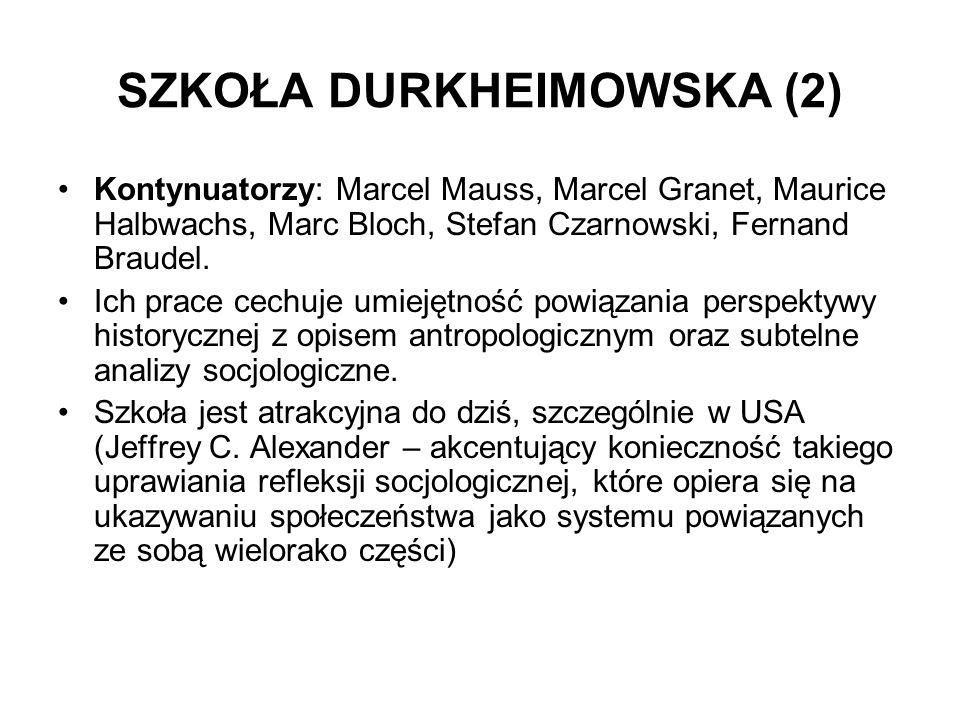 SZKOŁA DURKHEIMOWSKA (2) Kontynuatorzy: Marcel Mauss, Marcel Granet, Maurice Halbwachs, Marc Bloch, Stefan Czarnowski, Fernand Braudel. Ich prace cech