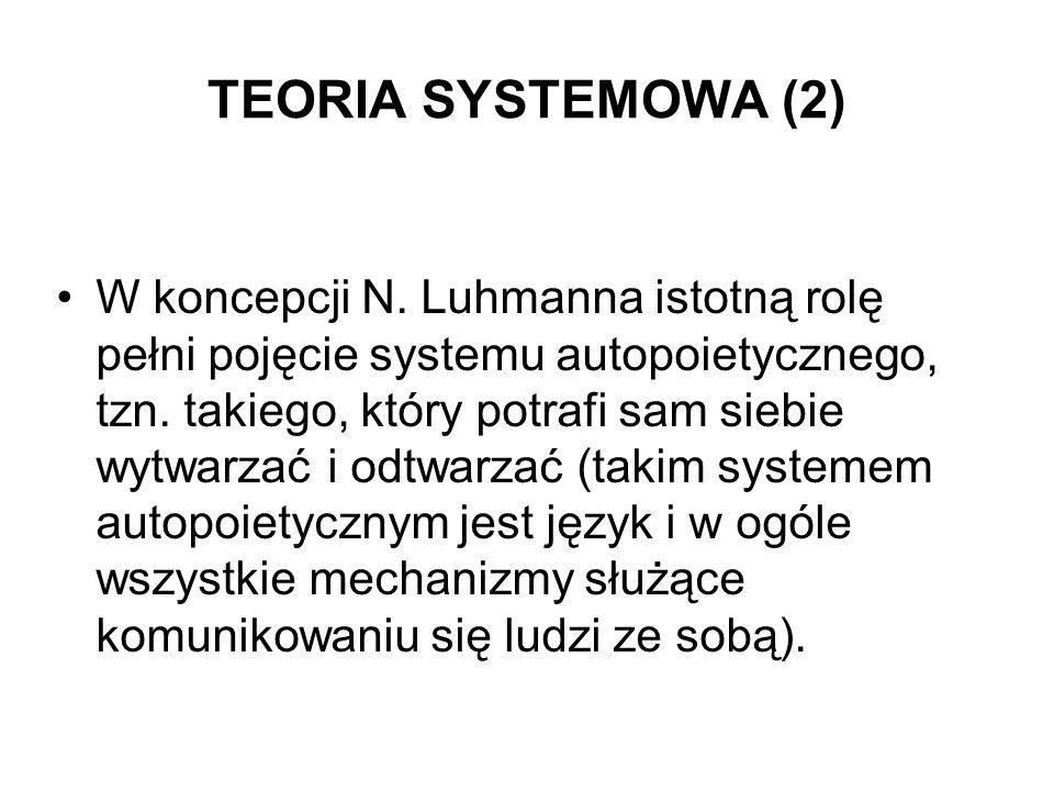 TEORIA SYSTEMOWA (2) W koncepcji N. Luhmanna istotną rolę pełni pojęcie systemu autopoietycznego, tzn. takiego, który potrafi sam siebie wytwarzać i o