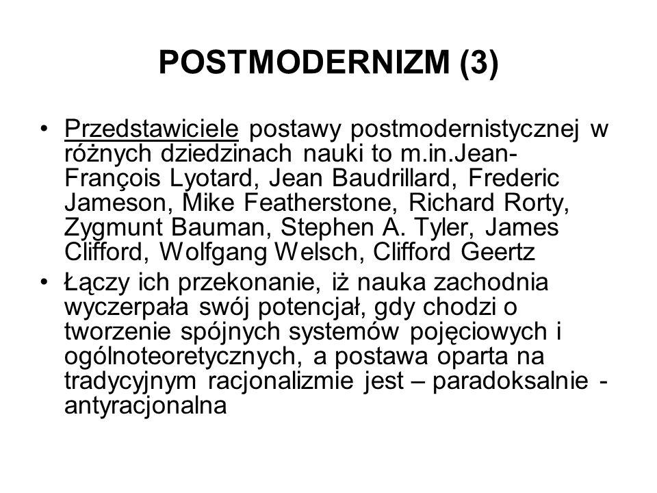 POSTMODERNIZM (3) Przedstawiciele postawy postmodernistycznej w różnych dziedzinach nauki to m.in.Jean- François Lyotard, Jean Baudrillard, Frederic J