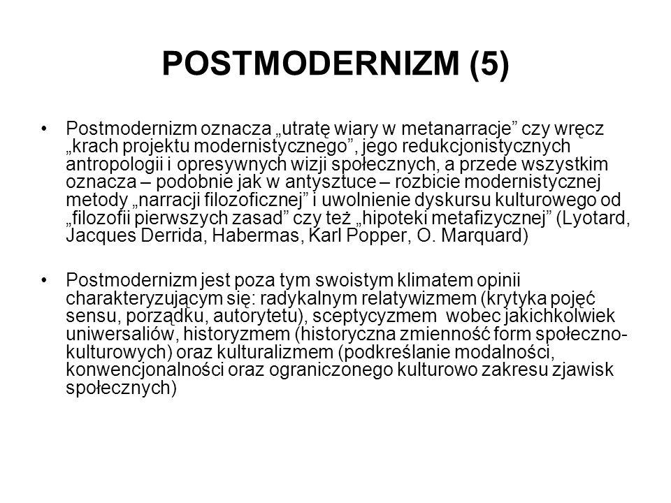POSTMODERNIZM (5) Postmodernizm oznacza utratę wiary w metanarracje czy wręcz krach projektu modernistycznego, jego redukcjonistycznych antropologii i