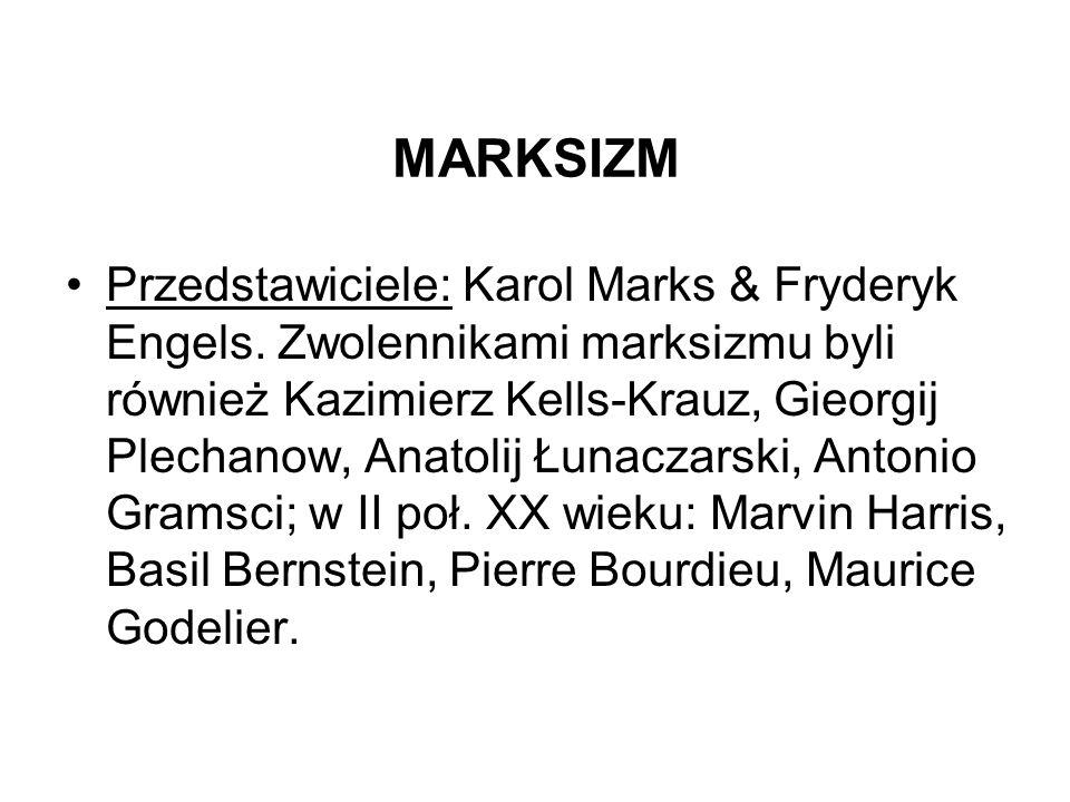 MARKSIZM Przedstawiciele: Karol Marks & Fryderyk Engels. Zwolennikami marksizmu byli również Kazimierz Kells-Krauz, Gieorgij Plechanow, Anatolij Łunac