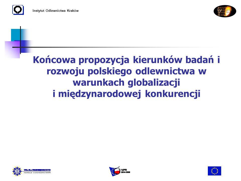 Instytut Odlewnictwa Kraków Końcowa propozycja kierunków badań i rozwoju polskiego odlewnictwa w warunkach globalizacji i międzynarodowej konkurencji