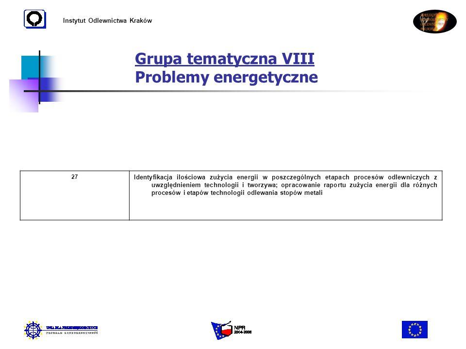 Instytut Odlewnictwa Kraków Grupa tematyczna VIII Problemy energetyczne 27 Identyfikacja ilościowa zużycia energii w poszczególnych etapach procesów o