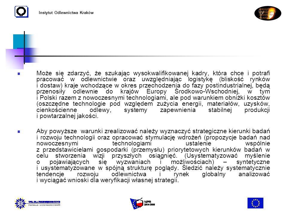 Instytut Odlewnictwa Kraków Może się zdarzyć, że szukając wysokwalifikowanej kadry, która chce i potrafi pracować w odlewnictwie oraz uwzględniając lo