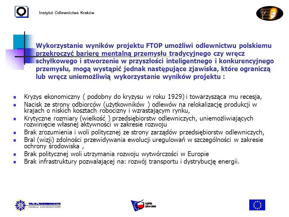 Instytut Odlewnictwa Kraków Kryzys ekonomiczny ( podobny do kryzysu w roku 1929) i towarzysząca mu recesja, Nacisk ze strony odbiorców (użytkowników )
