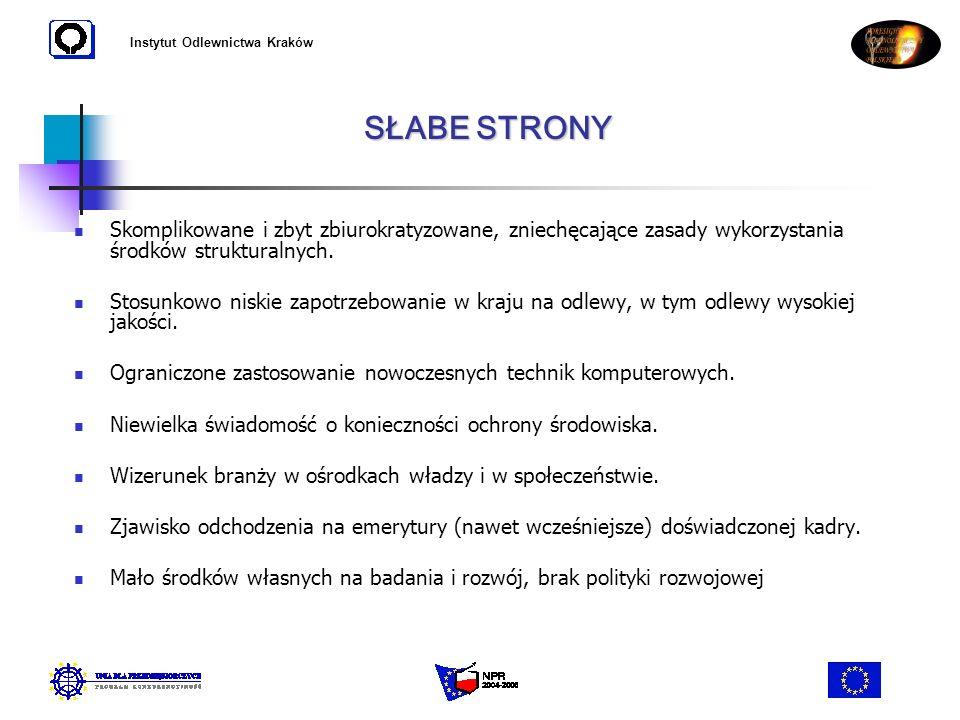 Instytut Odlewnictwa Kraków Skomplikowane i zbyt zbiurokratyzowane, zniechęcające zasady wykorzystania środków strukturalnych. Stosunkowo niskie zapot