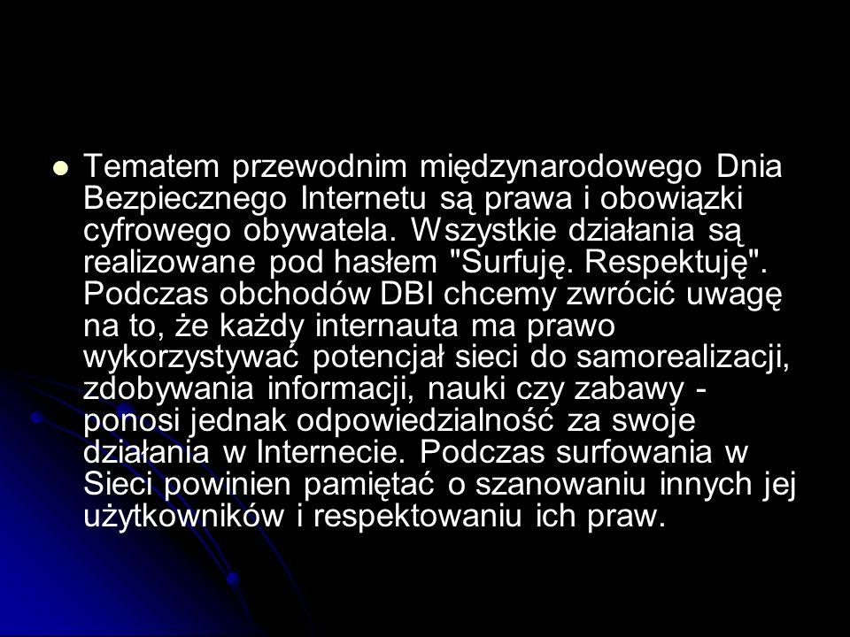 Tematem przewodnim międzynarodowego Dnia Bezpiecznego Internetu są prawa i obowiązki cyfrowego obywatela. Wszystkie działania są realizowane pod hasłe