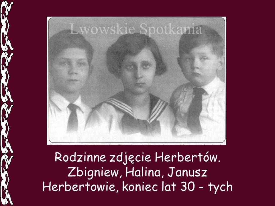 Rodzinne zdjęcie Herbertów. Zbigniew, Halina, Janusz Herbertowie, koniec lat 30 - tych