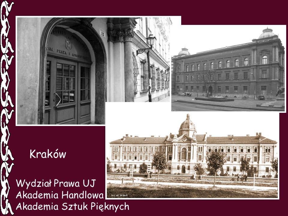 Wydział Prawa UJ Akademia Handlowa Akademia Sztuk Pięknych Kraków
