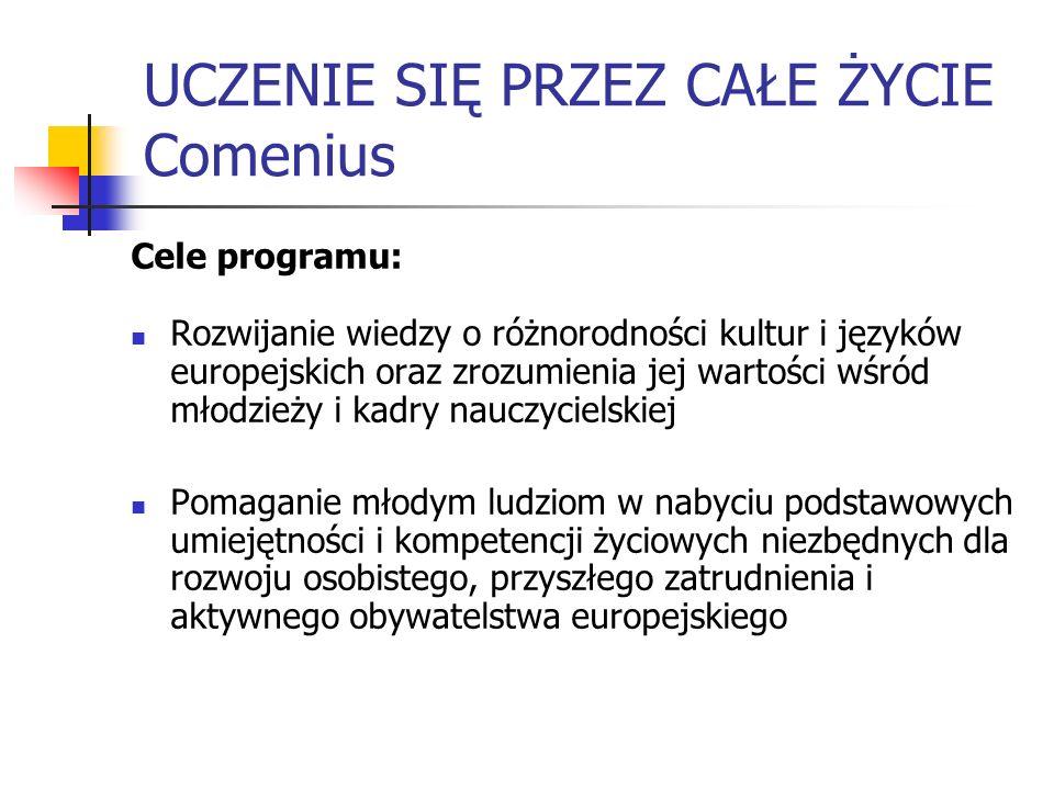 UCZENIE SIĘ PRZEZ CAŁE ŻYCIE Comenius Cele programu: Rozwijanie wiedzy o różnorodności kultur i języków europejskich oraz zrozumienia jej wartości wśr