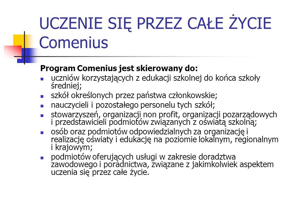 UCZENIE SIĘ PRZEZ CAŁE ŻYCIE Comenius Program Comenius jest skierowany do: uczniów korzystających z edukacji szkolnej do końca szkoły średniej; szkół