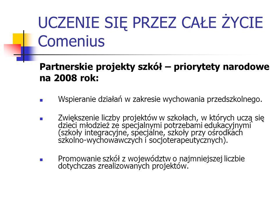 UCZENIE SIĘ PRZEZ CAŁE ŻYCIE Comenius Partnerskie projekty szkół – priorytety narodowe na 2008 rok: Wspieranie działań w zakresie wychowania przedszko