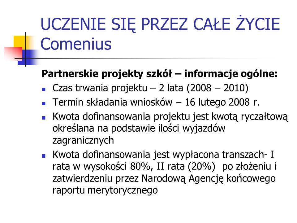 UCZENIE SIĘ PRZEZ CAŁE ŻYCIE Comenius Partnerskie projekty szkół – informacje ogólne: Czas trwania projektu – 2 lata (2008 – 2010) Termin składania wn