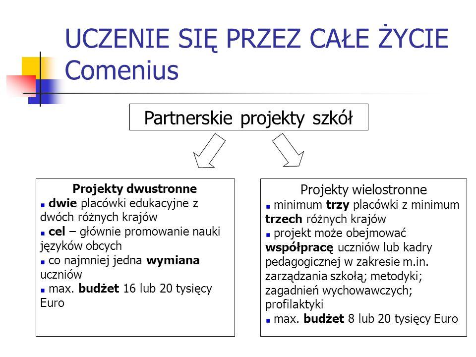 UCZENIE SIĘ PRZEZ CAŁE ŻYCIE Comenius Partnerskie projekty szkół Projekty dwustronne dwie placówki edukacyjne z dwóch różnych krajów cel – głównie pro