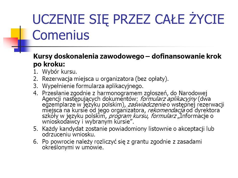 UCZENIE SIĘ PRZEZ CAŁE ŻYCIE Comenius Kursy doskonalenia zawodowego – dofinansowanie krok po kroku: 1.Wybór kursu. 2.Rezerwacja miejsca u organizatora