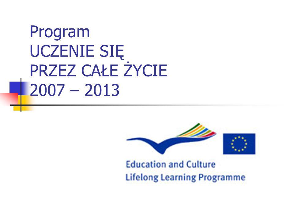 UCZENIE SIĘ PRZEZ CAŁE ŻYCIE Podstawowe informacje Lifelong Learning Programme (LLP) = Program Uczenie się przez całe życie Program Unii Europejskiej w dziedzinie edukacji (szkolnej, wyższej, zawodowej, dorosłych) i doskonalenia zawodowego Całkowity budżet Programu na lata 2007-2013 wynosi 6,97 mld EUR Agencja w Polsce: Fundacja Rozwoju Systemu Edukacji (FRSE)