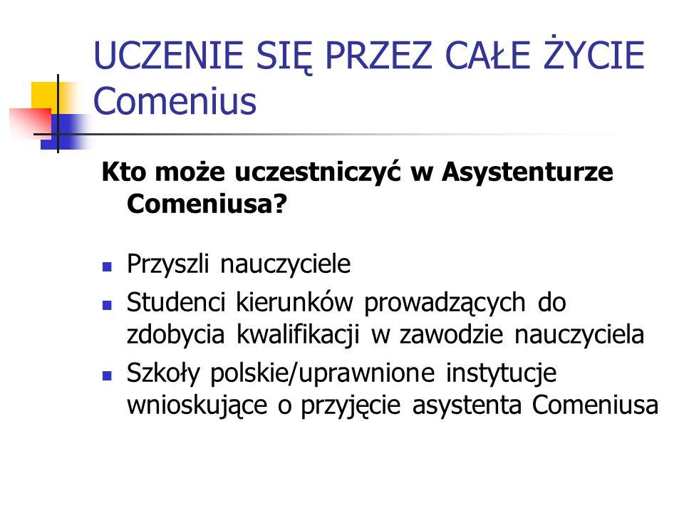 UCZENIE SIĘ PRZEZ CAŁE ŻYCIE Comenius Kto może uczestniczyć w Asystenturze Comeniusa? Przyszli nauczyciele Studenci kierunków prowadzących do zdobycia