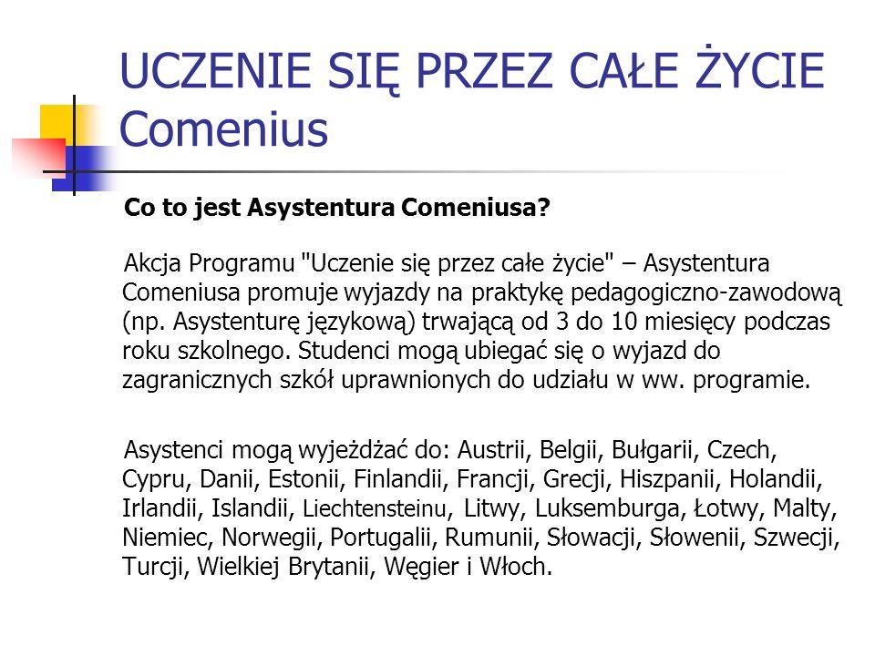 UCZENIE SIĘ PRZEZ CAŁE ŻYCIE Comenius Co to jest Asystentura Comeniusa? Akcja Programu