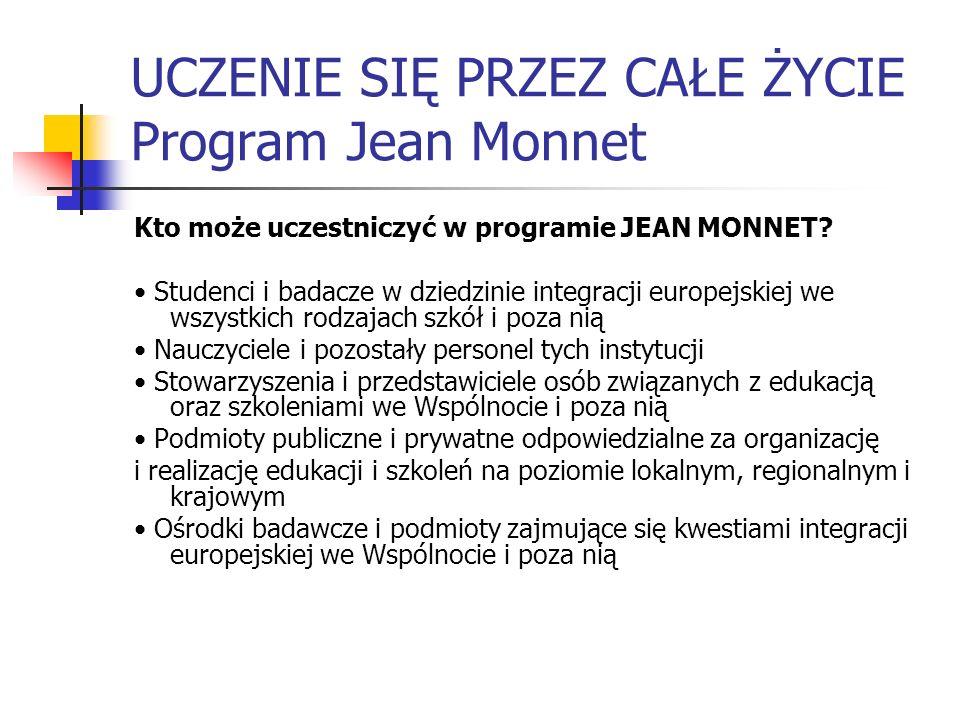 UCZENIE SIĘ PRZEZ CAŁE ŻYCIE Program Jean Monnet Kto może uczestniczyć w programie JEAN MONNET? Studenci i badacze w dziedzinie integracji europejskie