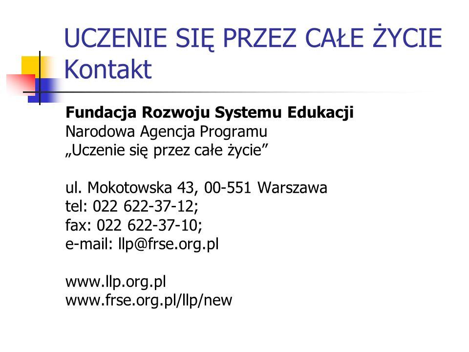 UCZENIE SIĘ PRZEZ CAŁE ŻYCIE Kontakt Fundacja Rozwoju Systemu Edukacji Narodowa Agencja Programu Uczenie się przez całe życie ul. Mokotowska 43, 00-55