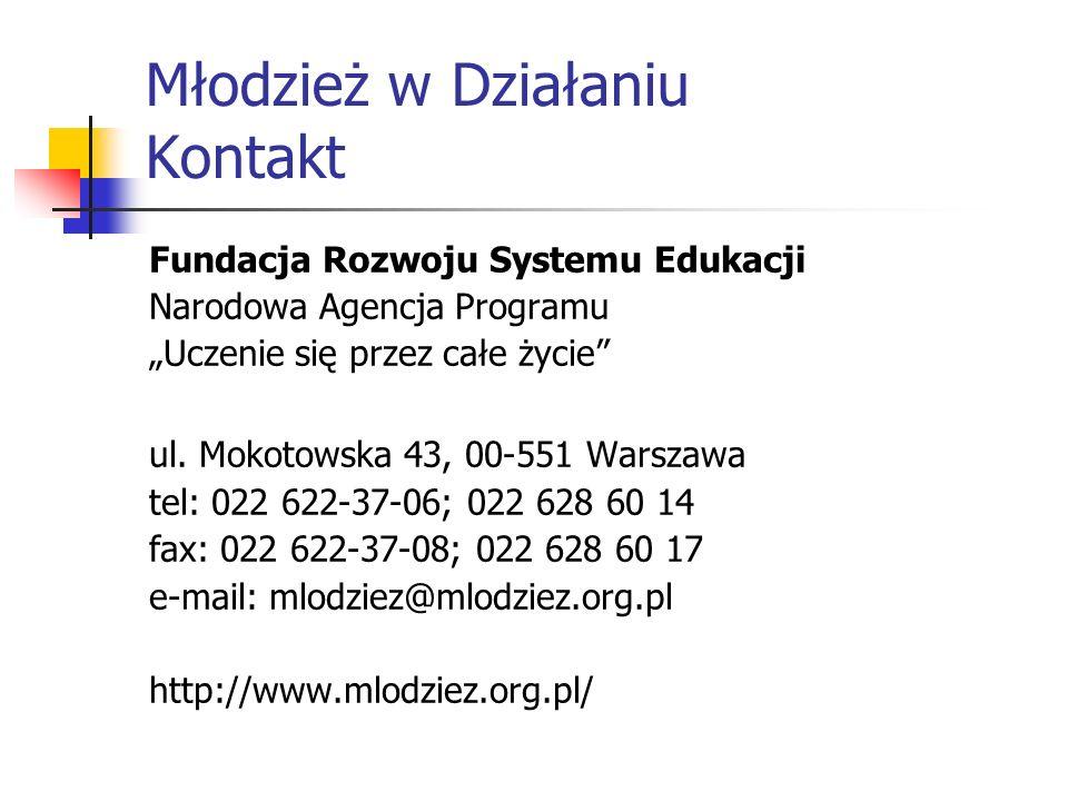 Młodzież w Działaniu Kontakt Fundacja Rozwoju Systemu Edukacji Narodowa Agencja Programu Uczenie się przez całe życie ul. Mokotowska 43, 00-551 Warsza