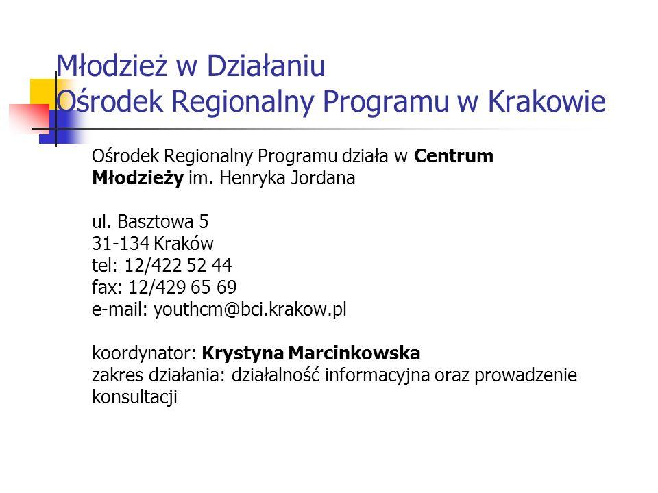 Młodzież w Działaniu Ośrodek Regionalny Programu w Krakowie Ośrodek Regionalny Programu działa w Centrum Młodzieży im. Henryka Jordana ul. Basztowa 5