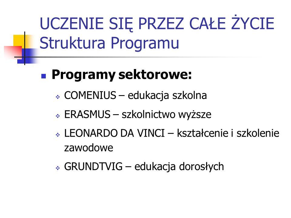 UCZENIE SIĘ PRZEZ CAŁE ŻYCIE Struktura Programu Programy sektorowe: COMENIUS – edukacja szkolna ERASMUS – szkolnictwo wyższe LEONARDO DA VINCI – kszta
