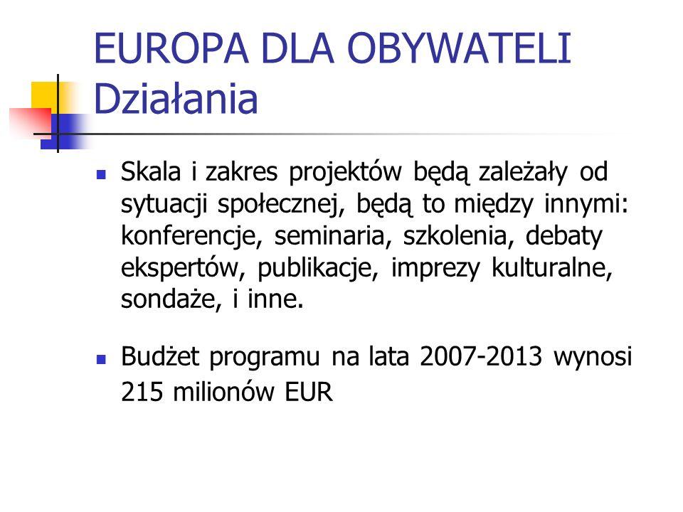 EUROPA DLA OBYWATELI Działania Skala i zakres projektów będą zależały od sytuacji społecznej, będą to między innymi: konferencje, seminaria, szkolenia