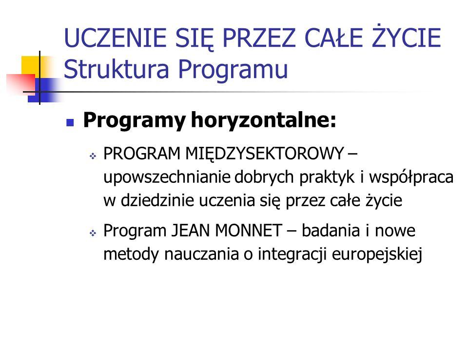 UCZENIE SIĘ PRZEZ CAŁE ŻYCIE Struktura Programu Programy horyzontalne: PROGRAM MIĘDZYSEKTOROWY – upowszechnianie dobrych praktyk i współpraca w dziedz