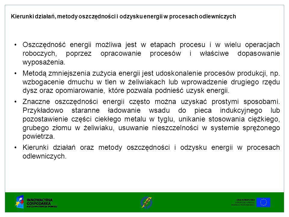 Oszczędność energii możliwa jest w etapach procesu i w wielu operacjach roboczych, poprzez opracowanie procesów i właściwe dopasowanie wyposażenia. Me