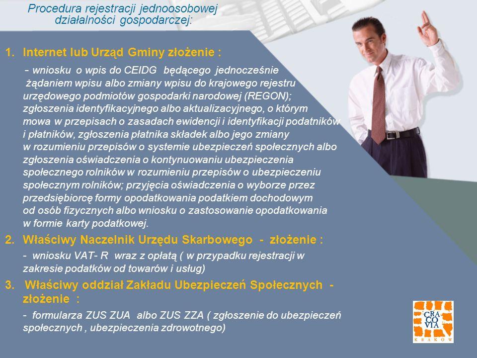 Procedura rejestracji jednoosobowej działalności gospodarczej: 1.Internet lub Urząd Gminy złożenie : - wniosku o wpis do CEIDG będącego jednocześnie ż