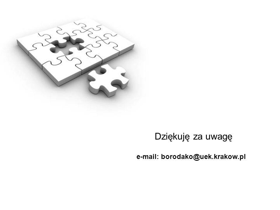 Dziękuję za uwagę e-mail: borodako@uek.krakow.pl
