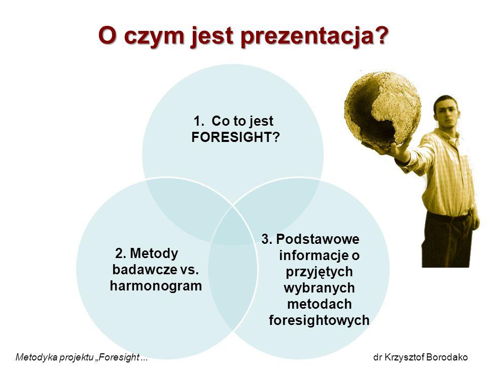 O czym jest prezentacja? Metodyka projektu Foresight... dr Krzysztof Borodako 1.Co to jest FORESIGHT? 2. Metody badawcze vs. harmonogram 3. Podstawowe