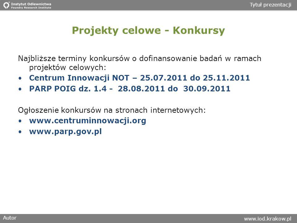 Autor www.iod.krakow.pl Tytuł prezentacji Projekty celowe - Konkursy Najbliższe terminy konkursów o dofinansowanie badań w ramach projektów celowych: Centrum Innowacji NOT – 25.07.2011 do 25.11.2011 PARP POIG dz.