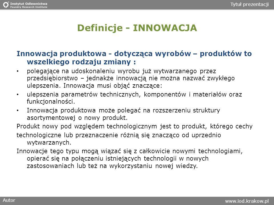 Autor www.iod.krakow.pl Tytuł prezentacji Definicje - INNOWACJA Innowacja produktowa - dotycząca wyrobów – produktów to wszelkiego rodzaju zmiany : polegające na udoskonaleniu wyrobu już wytwarzanego przez przedsiębiorstwo – jednakże innowacją nie można nazwać zwykłego ulepszenia.
