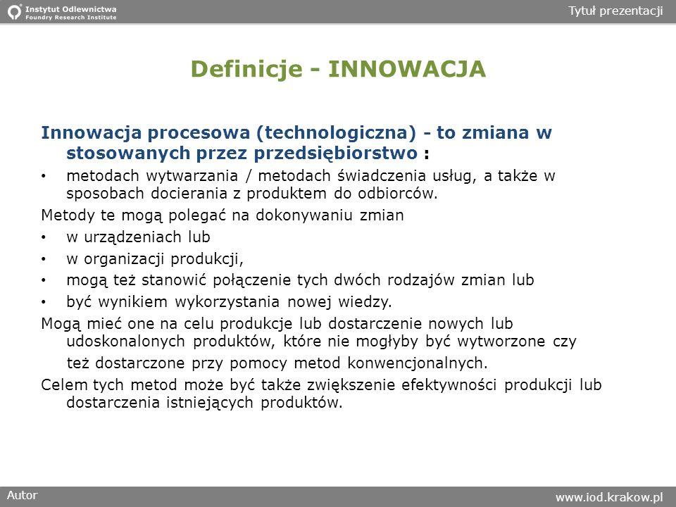 Autor www.iod.krakow.pl Tytuł prezentacji Definicje - INNOWACJA Innowacja procesowa (technologiczna) - to zmiana w stosowanych przez przedsiębiorstwo : metodach wytwarzania / metodach świadczenia usług, a także w sposobach docierania z produktem do odbiorców.