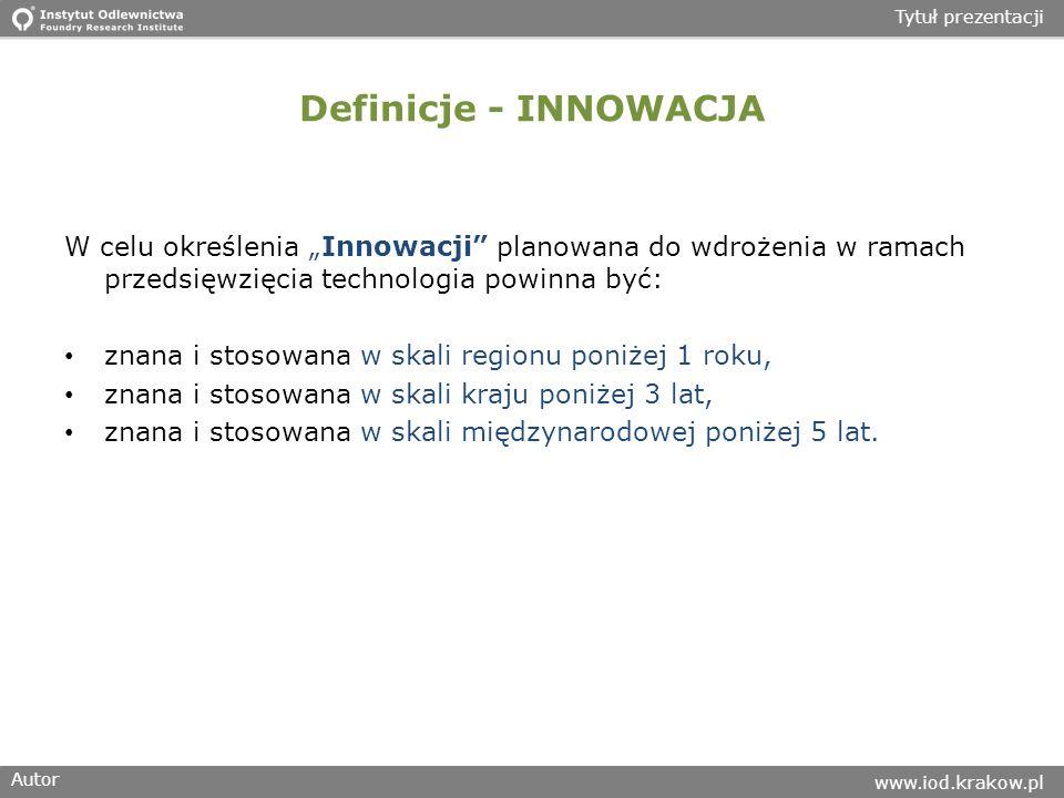 Autor www.iod.krakow.pl Tytuł prezentacji Definicje - INNOWACJA W celu określenia Innowacji planowana do wdrożenia w ramach przedsięwzięcia technologia powinna być: znana i stosowana w skali regionu poniżej 1 roku, znana i stosowana w skali kraju poniżej 3 lat, znana i stosowana w skali międzynarodowej poniżej 5 lat.