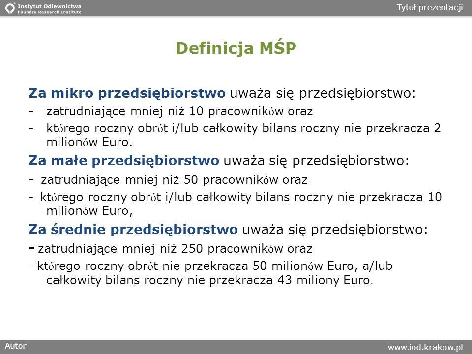 Autor www.iod.krakow.pl Tytuł prezentacji Definicja MŚP Za mikro przedsiębiorstwo uważa się przedsiębiorstwo: -zatrudniające mniej niż 10 pracownik ó w oraz -kt ó rego roczny obr ó t i/lub całkowity bilans roczny nie przekracza 2 milion ó w Euro.