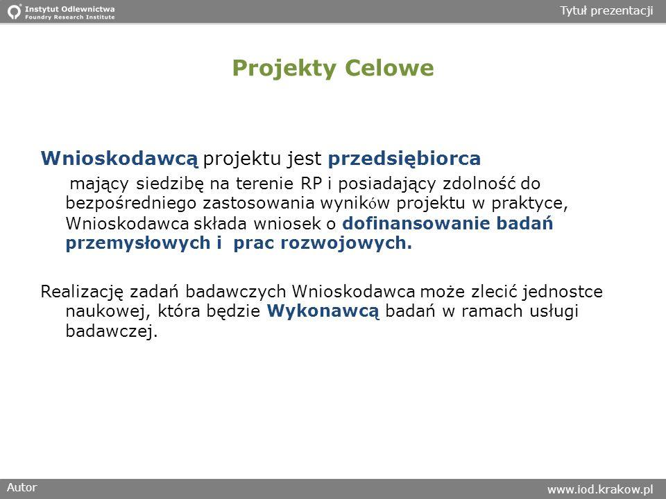Autor www.iod.krakow.pl Tytuł prezentacji Projekty Celowe Wnioskodawcą projektu jest przedsiębiorca mający siedzibę na terenie RP i posiadający zdolność do bezpośredniego zastosowania wynik ó w projektu w praktyce, Wnioskodawca składa wniosek o dofinansowanie badań przemysłowych i prac rozwojowych.
