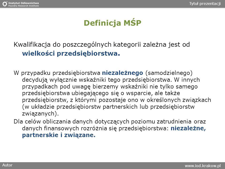 Autor www.iod.krakow.pl Tytuł prezentacji Definicja MŚP Kwalifikacja do poszczególnych kategorii zależna jest od wielkości przedsiębiorstwa.