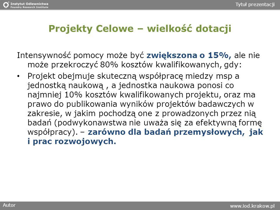 Autor www.iod.krakow.pl Tytuł prezentacji Projekty Celowe – wielkość dotacji Intensywność pomocy może być zwiększona o 15%, ale nie może przekroczyć 8