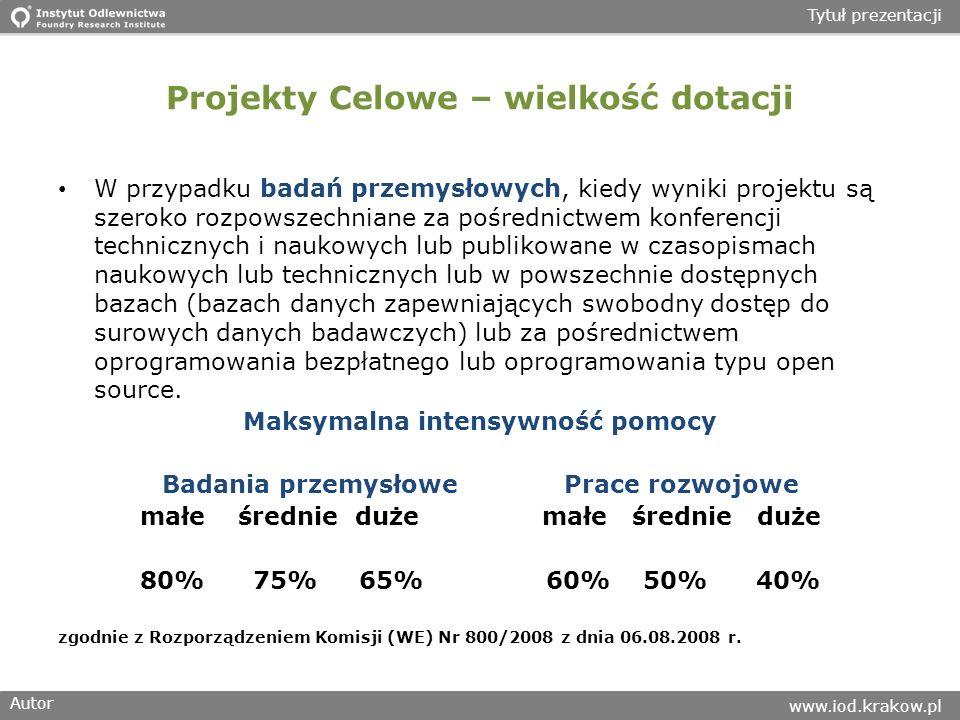 Autor www.iod.krakow.pl Tytuł prezentacji Projekty Celowe – wielkość dotacji W przypadku badań przemysłowych, kiedy wyniki projektu są szeroko rozpows