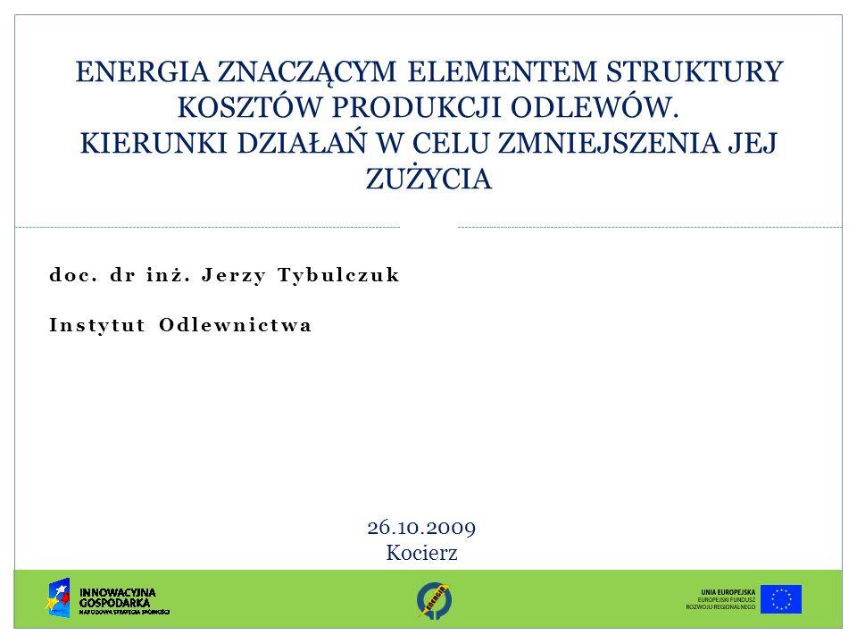 Spis treści I.Wstęp II.Odlewnictwo – branża o znaczeniu strategicznym dla rozwoju przemysłu – ŚWIAT, EUROPA, POLSKA III.Trendy w zakresie produkcji odlewów IV.Energia w strukturze kosztów odlewów V.Rodzaje i wielkość zużywalności energii w procesie produkcji i funkcjonowania przedsiębiorstwa odlewniczego Analiza informacji z dostępnych publikacji i źródeł zagranicznych VI.Kierunki i metody oszczędności energii w odlewnictwie – doświadczenie zagraniczne