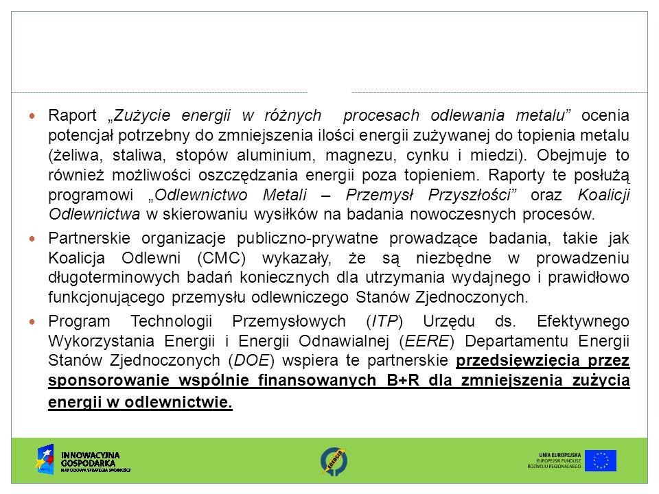 Raport Zużycie energii w różnych procesach odlewania metalu ocenia potencjał potrzebny do zmniejszenia ilości energii zużywanej do topienia metalu (że