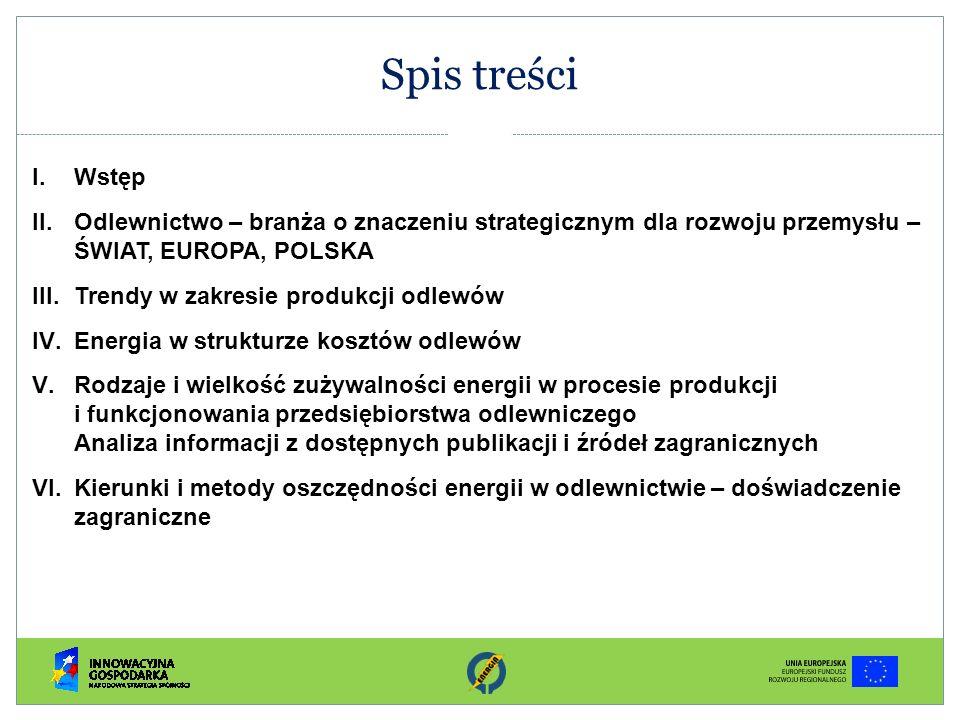 Spis treści I.Wstęp II.Odlewnictwo – branża o znaczeniu strategicznym dla rozwoju przemysłu – ŚWIAT, EUROPA, POLSKA III.Trendy w zakresie produkcji od